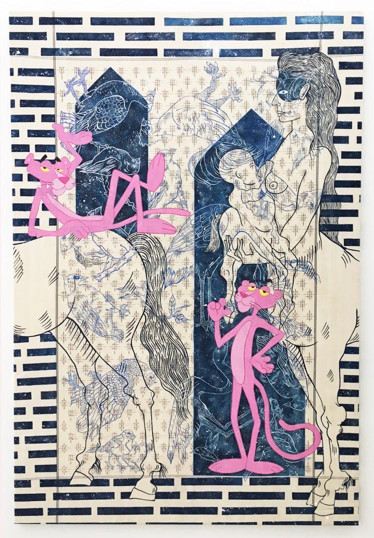 Nadira Husain, Milky Way, Tempera auf Ikat-Stoff, 204 × 138 cm, Courtesy die Künstlerin